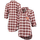 Auburn Tigers Concepts Sport Women Forge Rayon Flannel Long Sleeve Button-Up Shirt - Navy/Orange