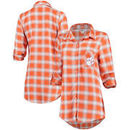 Clemson Tigers Concepts Sport Women Forge Rayon Flannel Long Sleeve Button-Up Shirt - Orange/White