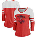 Washington Nationals Fanatics Branded Women's Personalized Base Runner Tri-Blend Three-Quarter Sleeve T-Shirt - Red