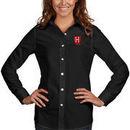 Harvard Crimson Antigua Women's Dynasty Woven Long Sleeve Button-Up Shirt - Black