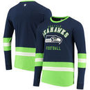 Seattle Seahawks G-III Sports by Carl Banks Even Strength Long Sleeve T-Shirt – College Navy/Neon Green