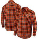 Cincinnati Bengals Wordmark Flannel Long Sleeve Button-Up - Orange/Black