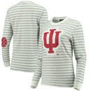 Indiana Hoosiers Women's Elbow Patch Striped Long Sleeve T-Shirt – Heathered Gray/White