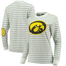 Iowa Hawkeyes Women's Elbow Patch Striped Long Sleeve T-Shirt – Heathered Gray/White
