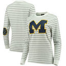 Michigan Wolverines Women's Elbow Patch Striped Long Sleeve T-Shirt – Heathered Gray/White