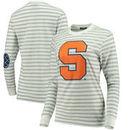 Syracuse Orange Women's Elbow Patch Striped Long Sleeve T-Shirt – Heathered Gray/White