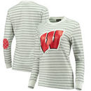 Wisconsin Badgers Women's Elbow Patch Striped Long Sleeve T-Shirt – Heathered Gray/White