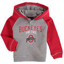 Ohio State Buckeyes Toddler Classic Stripe French Terry Henley Hoodie - Heathered Gray/Scarlet