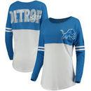 Detroit Lions 5th & Ocean by New Era Women's Team Logo Athletic Varsity Long Sleeve T-Shirt - Blue/White