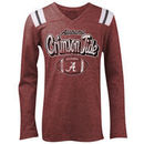 Alabama Crimson Tide 5th & Ocean by New Era Girls Youth Football Long Sleeve Tri-Blend V-Neck T-Shirt - Heathered Crimson