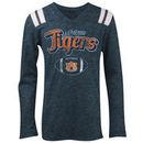 Auburn Tigers 5th & Ocean by New Era Girls Youth Football Long Sleeve Tri-Blend V-Neck T-Shirt - Heathered Navy