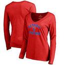 Detroit Pistons Fanatics Branded Women's Plus Size Overtime V-Neck Long Sleeve T-Shirt - Red