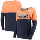 Denver Broncos 5th & Ocean by New Era Women's Fleece Tri-Blend Sweatshirt - Orange/Navy