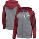 Atlanta Falcons 5th & Ocean by New Era Women's Fleece Tri-Blend Raglan Sleeve Full-Zip Hoodie - Heathered Gray/Red