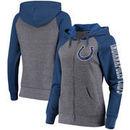 Indianapolis Colts 5th & Ocean by New Era Women's Fleece Tri-Blend Raglan Sleeve Full-Zip Hoodie - Heathered Gray/Royal