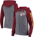 Kansas City Chiefs 5th & Ocean by New Era Women's Fleece Tri-Blend Raglan Sleeve Full-Zip Hoodie - Heathered Gray/Red