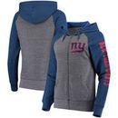 New York Giants 5th & Ocean by New Era Women's Fleece Tri-Blend Raglan Sleeve Full-Zip Hoodie - Heathered Gray/Royal