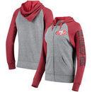 San Francisco 49ers 5th & Ocean by New Era Women's Fleece Tri-Blend Raglan Sleeve Full-Zip Hoodie - Heathered Gray/Scarlet