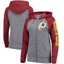 Washington Redskins 5th & Ocean by New Era Women's Fleece Tri-Blend Raglan Sleeve Full-Zip Hoodie - Heathered Gray/Burgundy