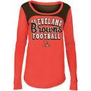 Cleveland Browns 5th & Ocean by New Era Girls Youth Glitter Football Long Sleeve T-Shirt - Orange