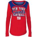 New York Giants 5th & Ocean by New Era Girls Youth Glitter Football Long Sleeve T-Shirt – Red