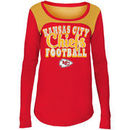 Kansas City Chiefs 5th & Ocean by New Era Girls Youth Glitter Football Long Sleeve T-Shirt – Red