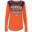 Denver Broncos 5th & Ocean by New Era Girls Youth Glitter Football Long Sleeve T-Shirt – Orange