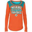 Miami Dolphins 5th & Ocean by New Era Girls Youth Glitter Football Long Sleeve T-Shirt – Orange