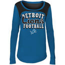 Detroit Lions 5th & Ocean by New Era Girls Youth Glitter Football Long Sleeve T-Shirt – Blue