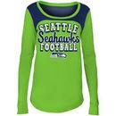 Seattle Seahawks 5th & Ocean by New Era Girls Youth Glitter Football Long Sleeve T-Shirt – Neon Green