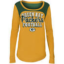 Green Bay Packers 5th & Ocean by New Era Girls Youth Glitter Football Long Sleeve T-Shirt – Gold