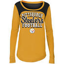 Pittsburgh Steelers 5th & Ocean by New Era Girls Youth Glitter Football Long Sleeve T-Shirt – Gold