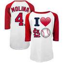 Yadier Molina St. Louis Cardinals 5th & Ocean by New Era Girls Youth Emoji Love Player Name & Number 3/4-Sleeve Raglan T-Shirt -