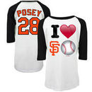 Buster Posey San Francisco Giants 5th & Ocean by New Era Girls Youth Emoji Love Player Name & Number 3/4-Sleeve Raglan T-Shirt -