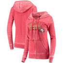 San Francisco 49ers 5th & Ocean by New Era Women's Burnout Wash Full-Zip Hoodie – Scarlet