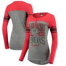 San Francisco 49ers 5th & Ocean by New Era Women's Long Sleeve Henley with Contrast Yoke Top – Gray/Scarlet