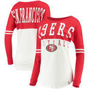 San Francisco 49ers 5th & Ocean by New Era Women's Long Sleeve Jersey Crew with Contrast Yoke T-Shirt – White/Scarlet