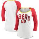 San Francisco 49ers 5th & Ocean by New Era Women's 3/4 Sleeve Slub Scoop Neck T-Shirt – White/Scarlet