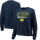 Michigan Wolverines Alta Gracia (Fair Trade) Women's Ann Cozy Brushed Hacci Tri-Blend Sweatshirt - Navy