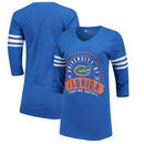 Florida Gators Alta Gracia (Fair Trade) Women's Lulu Striped Football 3/4-Sleeve T-Shirt - Royal