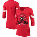 Georgia Bulldogs Alta Gracia (Fair Trade) Women's Lulu Striped Football 3/4-Sleeve T-Shirt - Red