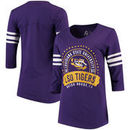 LSU Tigers Alta Gracia (Fair Trade) Women's Lulu Striped Football 3/4-Sleeve T-Shirt - Purple