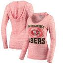 San Francisco 49ers Women's Crest V-Neck Slub Hooded Long Sleeve T-Shirt - Heathered Scarlet