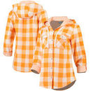 Tennessee Volunteers Columbia Women's Times Two Plaid Hooded Long Sleeve Button-Up Shirt - Tennessee Orange/White