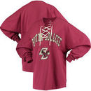 Boston College Eagles Women's Lace-up Spirit Jersey Long Sleeve T-Shirt - Maroon