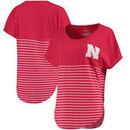 Nebraska Cornhuskers Women's Colorblock Stripe Cutoff T-Shirt – Scarlet