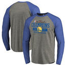 Golden State Warriors Fanatics Branded 2017 NBA Finals Champions Flex Raglan Long Sleeve T-Shirt - Heathered Gray