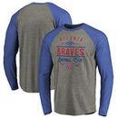 Atlanta Braves Fanatics Branded Cooperstown Collection Doubleday Tri-Blend Raglan Long Sleeve T-Shirt - Ash