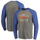 New York Mets Fanatics Branded Cooperstown Collection Doubleday Tri-Blend Raglan Long Sleeve T-Shirt - Ash