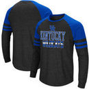 Kentucky Wildcats Colosseum Big and Tall Hybrid Raglan Long Sleeve T-Shirt – Heathered Gray/Royal